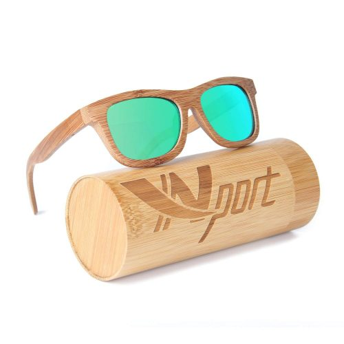 Ynport Mens-Womens Polarized Full Charcoal Bamboo Frame Classic Wooden Coated Sunglasses, vintage Eyewear, Floating in Water