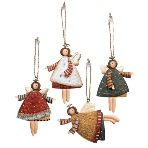Lot of 12 Dancing Tin Angels Christmas Tree Ornaments