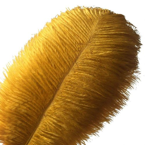 Sowder 10pcs Ostrich Feathers 12-14inch(30-35cm) Plume Home Wedding Decoration(golden)