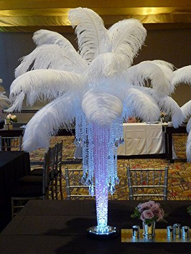 Sowder 5pcs Ostrich Feathers 16-18inch(40-45cm) Home Wedding Decoration(White)
