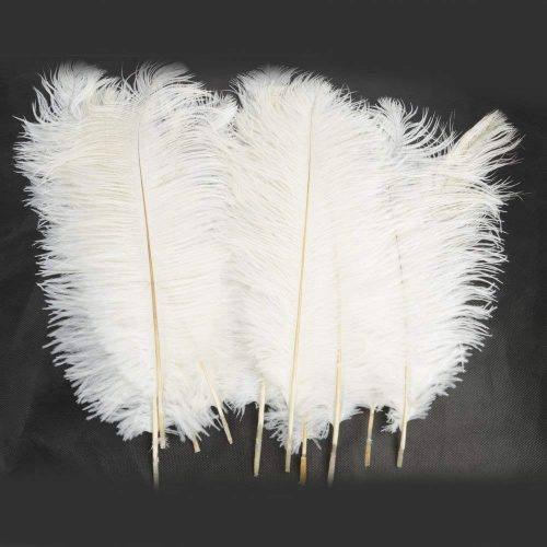 "50 Piece 12""-14"" Ostrich Feather Premium Quality for Home Wedding Party Centerpiece Vase DIY Decoration White"