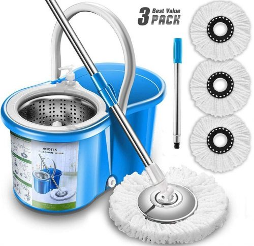 Aootek Upgraded Stainless Steel Deluxe 360 Spin Mop and Bucket Floor
