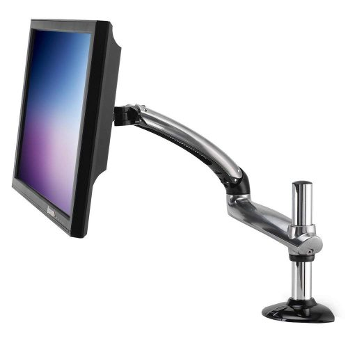 Ergotech Freedom Arm- Single Aluminum Monitor Arm- holds up to 27INCH Monitor with Desk Clamp - Silver