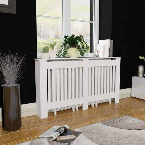 Festnight MDF Radiator Cover Heating Cabinet with a Matte Finish Living Room Furniture Decor White (60INCH x 7.5INCH x 32INCH)