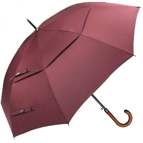 G4Free Wooden Hook Handle Classic Golf Umbrella Windproof Auto Open 52 inch Large Oversized Double Canopy Vented Rainproof Cane Stick Umbrellas Men Women