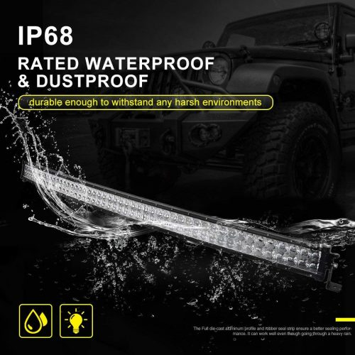LED Light Bar 52 Inch Curved AUTO Work Light 4D 500W with 8ft Wiring Harness, 50000LM Offroad Driving Fog Lamp Marine Boating Light IP68 WATERPROOF Spot & Flood Combo Beam Light Bar