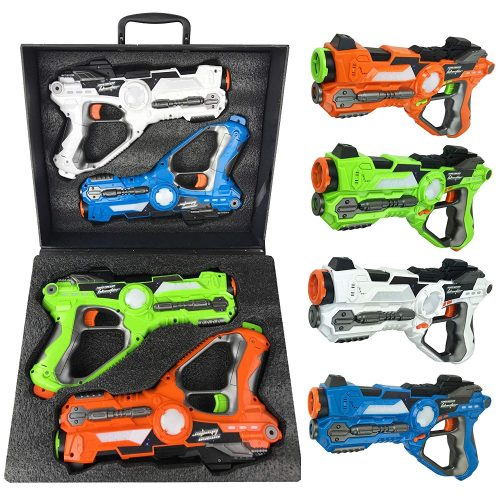 Liberty Imports Multiplayer Extreme Infrared Laser Tag Mega 4 Pack Game Set - Indoor Outdoor Interactive Battle Toy Lazer Gun Blasters with Gift Carrying Case