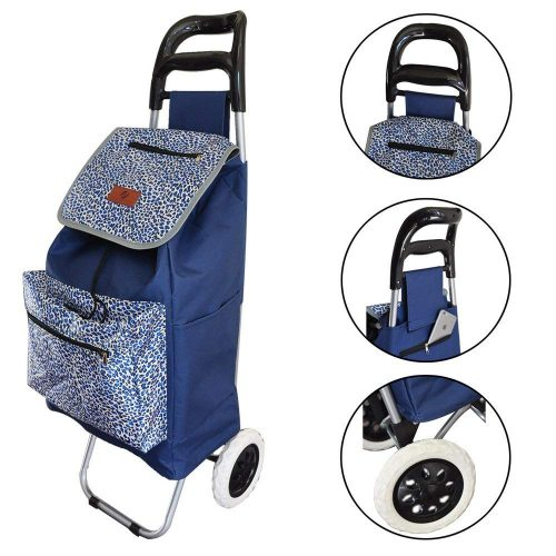 Lightweight Folding Laundry, Shopping, Grocery, Utility Trolley, Foldable Cart, Pull Cart with Wheels, Rolling Push Dolly with Tote