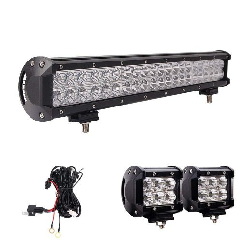 Northpole Light 20 Inch 126W Waterproof Spot Flood Combo LED Light Bar with 2PCS 18W Cree Flood LED Work Lights and 12V 40A Wiring Harness for Off Road,Jeep, Truck, Car, ATV, SUV