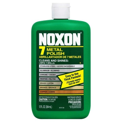 Noxon 7 Liquid Metal Polish, 12 fl oz Bottle for Brass, Copper, Stainless, Chrome, Aluminum, Pewter & Bronze