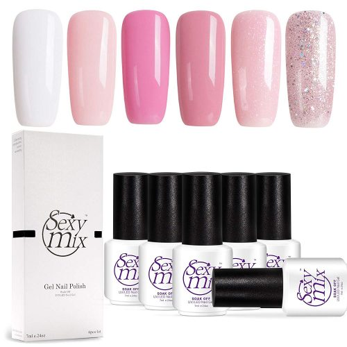 Sexy Mix Gel Nail Polish Set, Nude Pink Glitter Colors Series Soak Off UV LED Gel Polish Kit Gift Box 6 Tiny Bottles 0.24 OZ