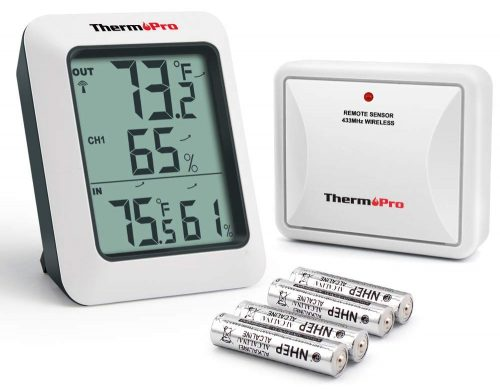 ThermoPro TP-60S Digital Hygrometer Indoor Outdoor Thermometer Humidity Monitor, with Temperature Gauge Meter, Wireless, 200ft-60m Range, White - TOP 10 BEST WEATHER STATIONS IN 2019 REVIEWS