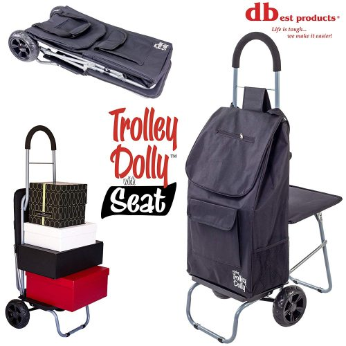 Trolley Dolly with Seat, Black Shopping Grocery Foldable Cart Tailgate