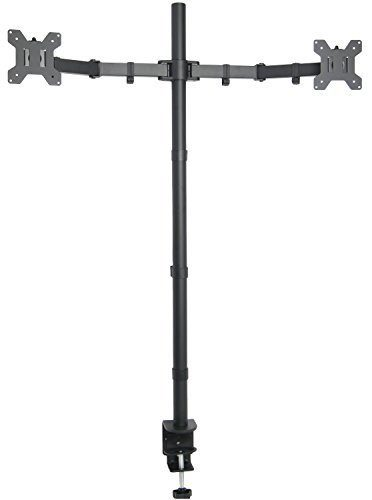 VIVO Dual Monitor Stand Up Desk Mount Extra Tall 39INCH Pole - Fully Adjustable Stand for up to 27INCH Screens (STAND-V012)