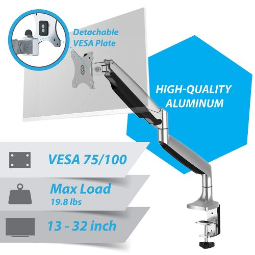 VLT-Power Premium Aluminum Single Monitor Gas Spring Desk Mount Arm Stand -Ergonomic Fully Adjustable, Heavy Duty Holds 13 to 32 Screens - TOP 10 BEST MONITOR ARMS IN 2019 REVIEWS