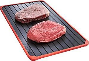 VonShef Defrosting Tray with Red Silicone Border Thaws Frozen Food faster with no electricity