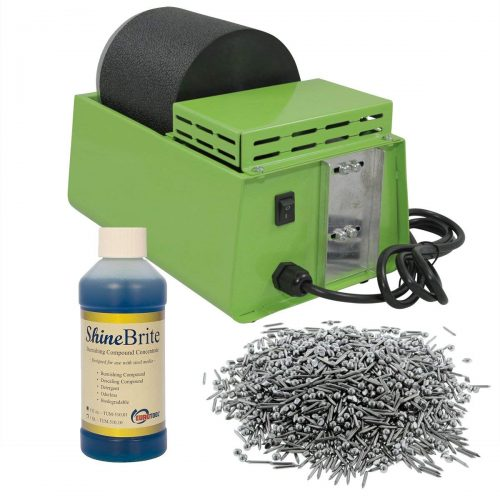 WireJewelry Single Barrel Rotary Tumbler, Jewelry and Metal Polishing Kit, Includes 1 Pound of Jewelers Mix Shot and 8 Ounces of Shinebrite Burnishing Compound-top 10 best rock polishers IN 2021 REVIEWS