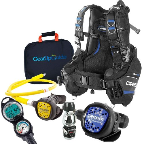 Cressi Aquaride Blue Pro BCD Scuba Gear Package with MC9 Compact Regulator & Octo Leonardo C2 Dive Computer with GupG Reg Bag