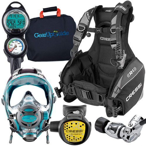 Cressi - Ocean Reef Full-Face Mask Scuba Gear Package GupG Reg Bag