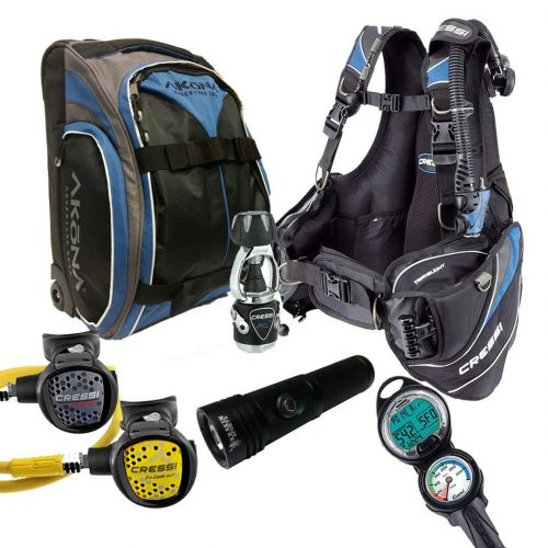 Cressi Travelight 15 LBS Scuba Diving Package Carry On Reg Dive Computer GupG Reg Bag Kraken Dive Torch