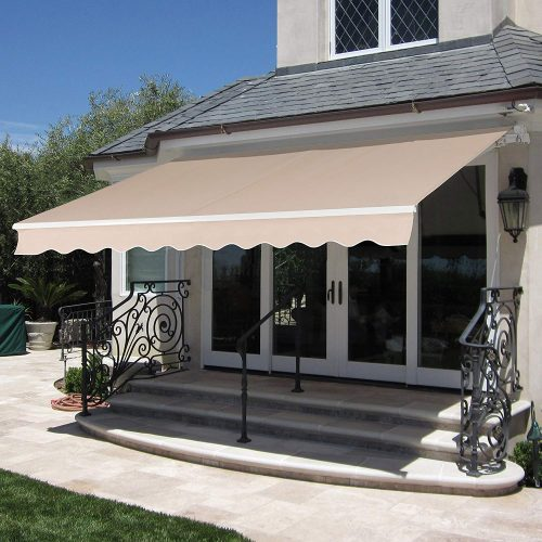 Best Choice Products 98x80in Retractable Patio Sun Shade Awning Cover w/UV- & Water-Resistant Fabric, Aluminum Frame, Crank Handle