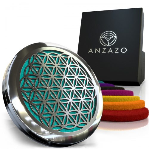 "Anzazo Car Essential Oil Diffuser - 1.5"" Magnetic Locket Set with Air Vent Clip - Best for Aromatherapy - Fragrance Air Freshener, Scents Diffusers - Sacred Geometry Jewelry for Car, Flower of Life"