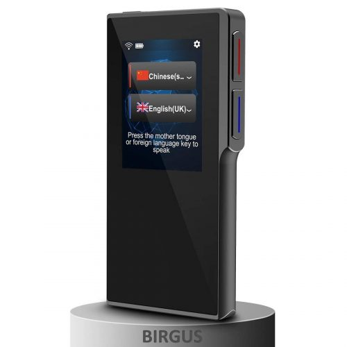 Birgus Smart Voice Translator Device with 2.4 Inch High Definition Toch Screen Support 70 Languages for Travelling Abroad Learning Off-Line