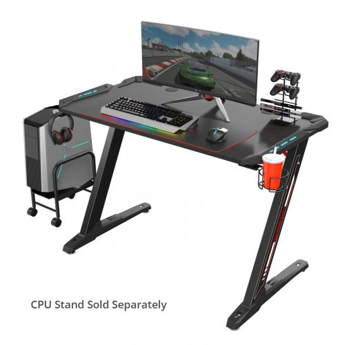"Eureka Ergonomic Z1-S Gaming Desk 44.5"" Z Shaped Office PC Computer Gaming Desk Gamer Tables Pro with LED Lights Controller Stand Cup Holder Headphone Hook & Free Mousepad - Black"