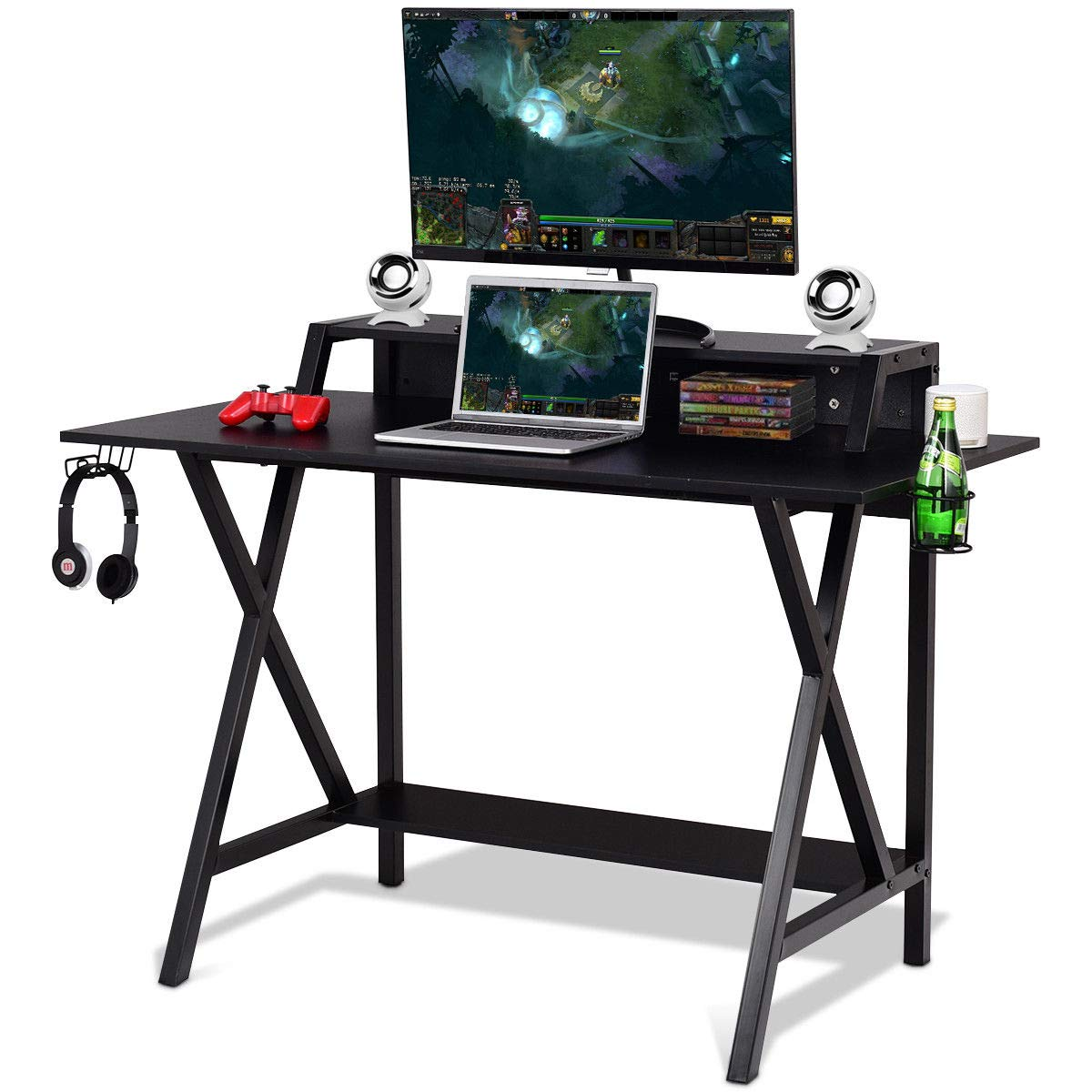 Tangkula Gaming Desk, Gaming Computer Desk, Gamers Computer Desk, Gaming Workstation with Cup & Headphone Holder, Built-in Wire-Management, Writing Desk for Home Or Office