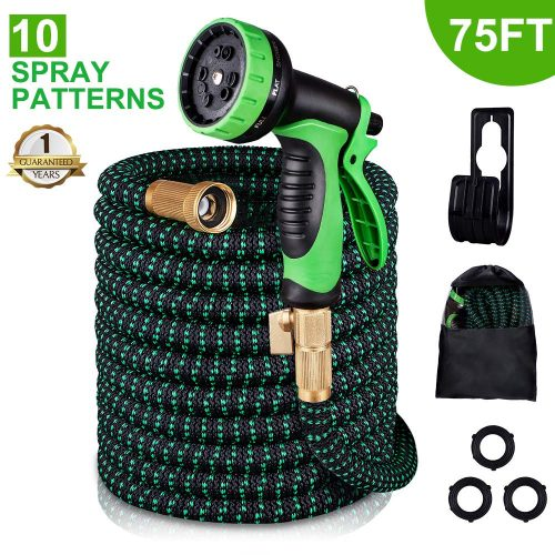 monyar Garden Hose Expandable Water Hose 75 Feet, Extra Strength/No-Kink Lightweight/Durable/Flexible/10 Function Spray Hose Nozzle 3/4 Solid Brass Connectors Garden Hose for Watering/Washing
