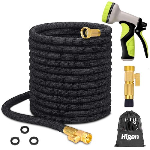 "Higen 100ft Upgraded Expandable Garden Hose Set, Extra Strength Fabric Triple Layer Latex Core, 3/4"" Solid Brass Fittings, 9 Function Spray Nozzle with Storage Bag, Premium No-Kink Flexible Water Hose TOP 10 BEST EXPANDABLE GARDEN HOSE IN 2020 REVIEWS"