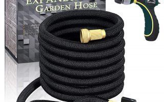 """TheFitLife Flexible and Expandable Garden Hose - Strongest Triple Latex Core with 3/4"""" Solid Brass Fittings Free 8 Function Spray Nozzle, Easy Storage Kink Free Water Hose (25 Feet)"""
