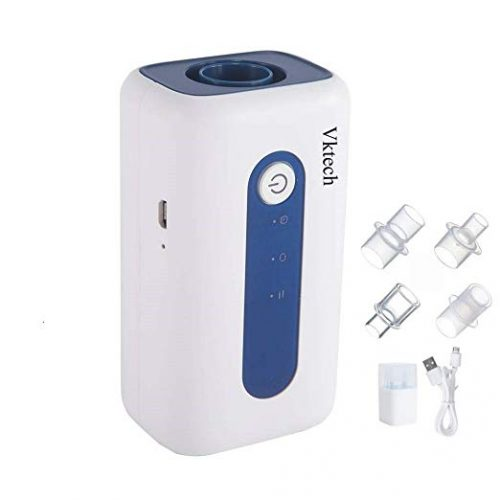 CPAP Cleaner & Sanitizer, Vktech Portable Mini CPAP Cleaner Disinfector, Three Work Modes + 4 Adapter & Connector 25 min Suit for CPAP Air Tubes Heated Hose Pipe Tube Accessories, White