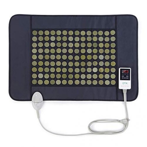 """UTK Far Infrared Heating Pad 21""""x31"""" for Back Pain, Sciatica, Arthritis, Cramp Pain Max 159 ℉ 126 Natural Jade Stones Matrix Hot Therapy for Pain Relief, Travel Bag Included [ Model Medium ]"""
