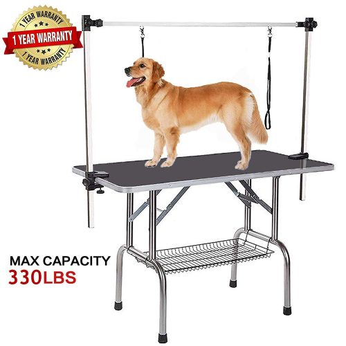 """Professional Dog Pet Grooming Table Large Adjustable Heavy Duty Portable w/Arm & Noose & Mesh Tray, Maximum Capacity Up to 330LB, 46"""" x 24"""""""