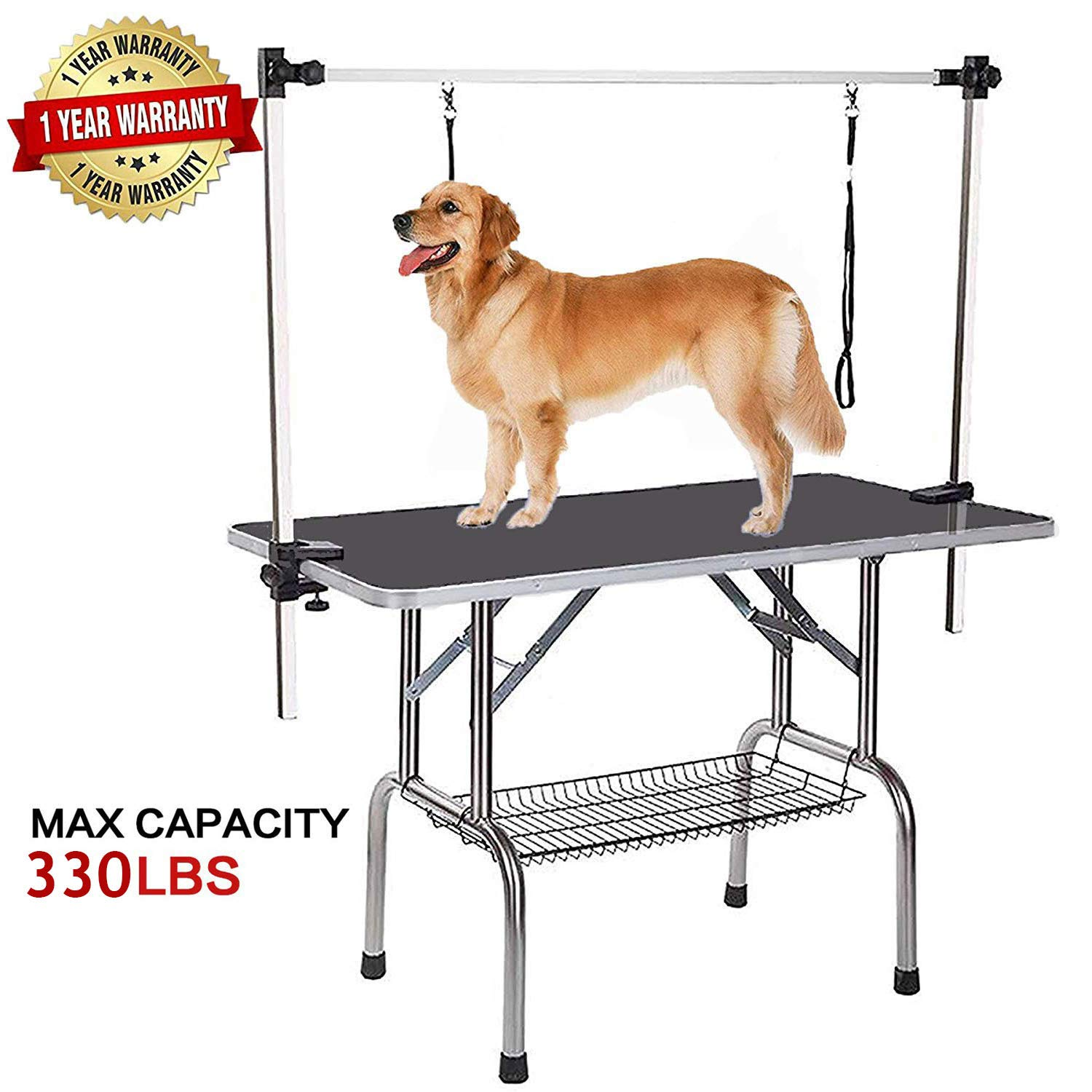 "Professional Dog Pet Grooming Table Large Adjustable Heavy Duty Portable w/Arm & Noose & Mesh Tray, Maximum Capacity Up to 330LB, 46"" x 24"""