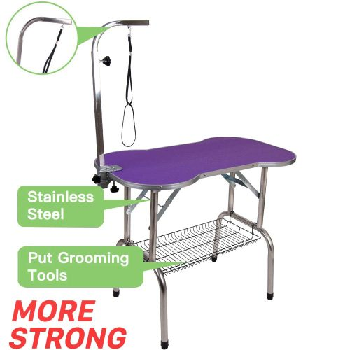 Polar Aurora Pingkay Stainless Steel Pet Foldable Grooming Table with Adjustable Arm and Noose and Mesh Tray TOP 10 BEST DOG GROOMING TABLES IN 2020 REVIEWS