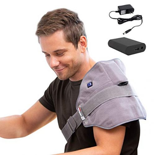 """[Portable Battery] 19"""" x 11"""" Venture Heat Infrared Heating Pad for Cramps Pain Relief - Electric Heated Wrap for Back, Shoulder, Sprains, Joint Injury, 100-240v Travel Hot Compress"""