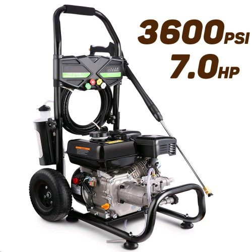 Pujua 3600PSI 2.8GPM Gas Pressure Washer Power Washer 212CC Gas Pressure Washer Powered, High-Pressure Hose 5 Nozzles, 2-Year Warranty
