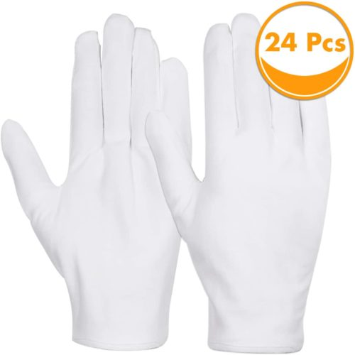 Cotton Gloves, Anezus 12 Pairs White Cotton Gloves Cloth Serving Gloves for Eczema Moisturizing Dry Hands Coin Jewelry Silver Archival Costume Inspection, Medium Size