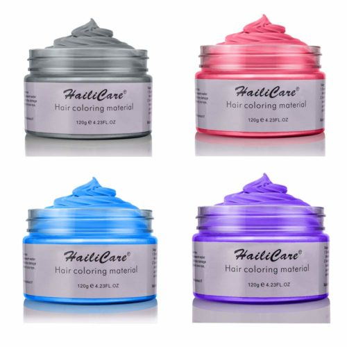 4 Colors Temporary Hair Dye Wax - 4 in 1 Sliver Blue Purple Red - Natural Matte Hairstyle for Party, Cosplay TOP 10 BEST COLOR HAIR WAXS IN 2020 REVIEWS