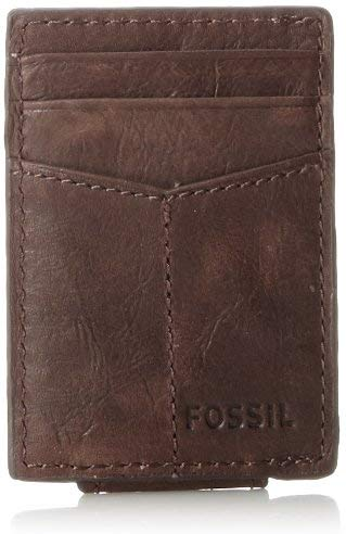 Fossil-Magnetic-Card-Wallet-Brown Fossil Wallets