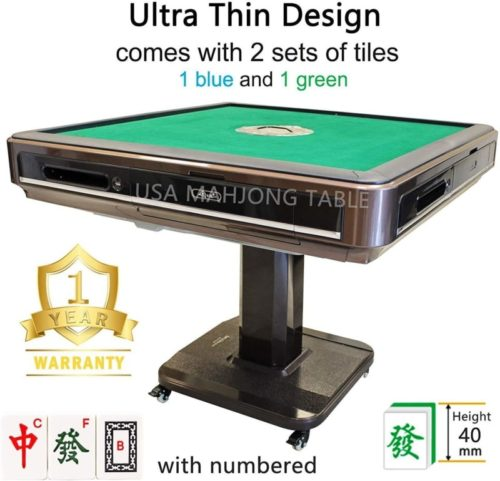 144Tiles-40mm-Numbered-Tiles-Ultra-Thin-Unfoldable-Automatic-Mahjong-Table-with-Wheels-ChinesePhilippine-Mahjong-Style-1-Year-Warranty
