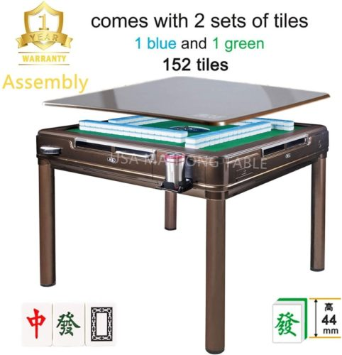 144Tiles-44mm-Assembled-已安装-44mm-X-Large-Tiles-Automatic-Mahjong-4Legs-Dining-Game-Table-Chinese-Philippine-Style-Comes-2-Sets-of-Magnetic-Tiles-without-Number-Blue-Green-One-Year-Warranty