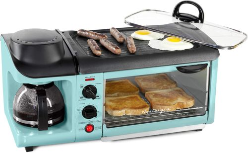 Nostalgia Retro 3-in-1 Family Size Electric Breakfast Station, Coffeemaker, Griddle, Toaster Oven
