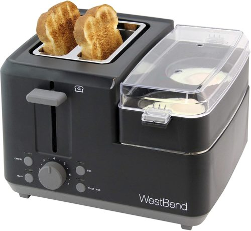 West Bend 2-Slice 78500 Breakfast Station Wide Slot Toaster with Removable Crumb includes Meat and Vegetable Warming Tray with Egg Cooker and Poacher