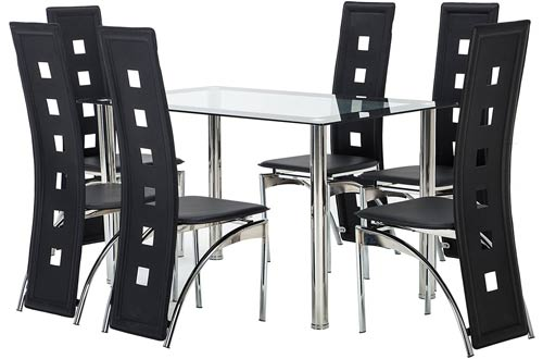 Mecor 7 Piece Kitchen Glass Top Dining  Table Set with Chairs