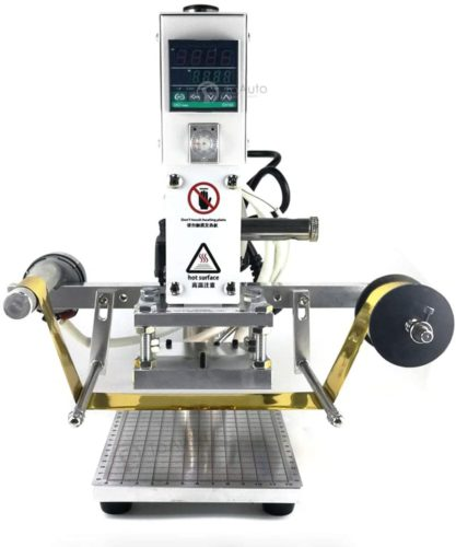 """Hot Foil Stamping Machine Automatic Reeling 10x13cm 110v Tipper Stamper Bronzing Card Foil Logo Embossing 3.9"""" x 5.1"""" for for PVC Leather PU and Paper Stamping (110V 60Hz)"""