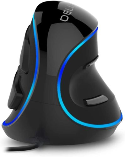 Delux Wired Vertical Mouse, Ergonomic Optical Mouse with 3 Adjustable DPI (800/1200/1600DPI), 6 Buttons and Removable Wrist Rest for PC Computer Laptop (M618Plus Single Color (Blue LED)-Black)