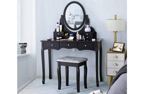 Tiptiper Makeup Vanity Tables with Cushioned Stool